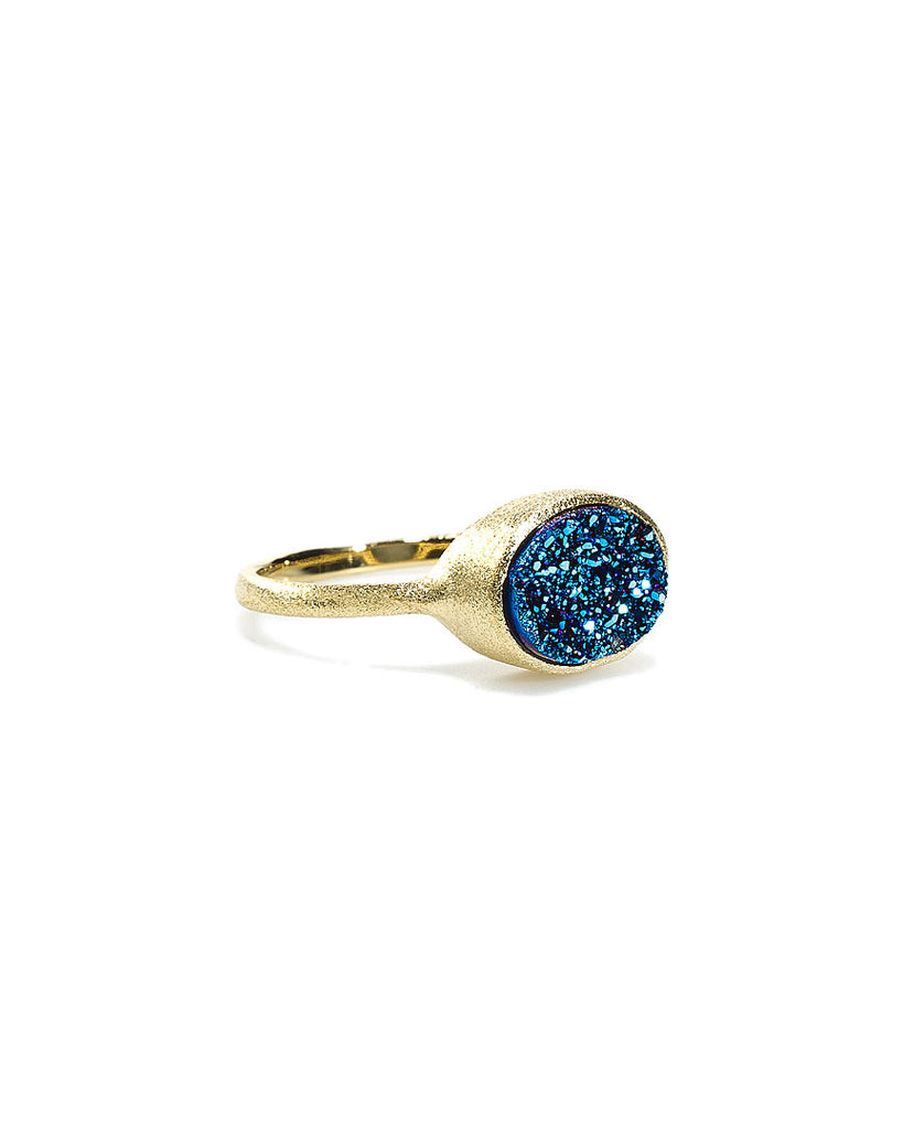 Blue Druzy Quartz East West Oval Ring
