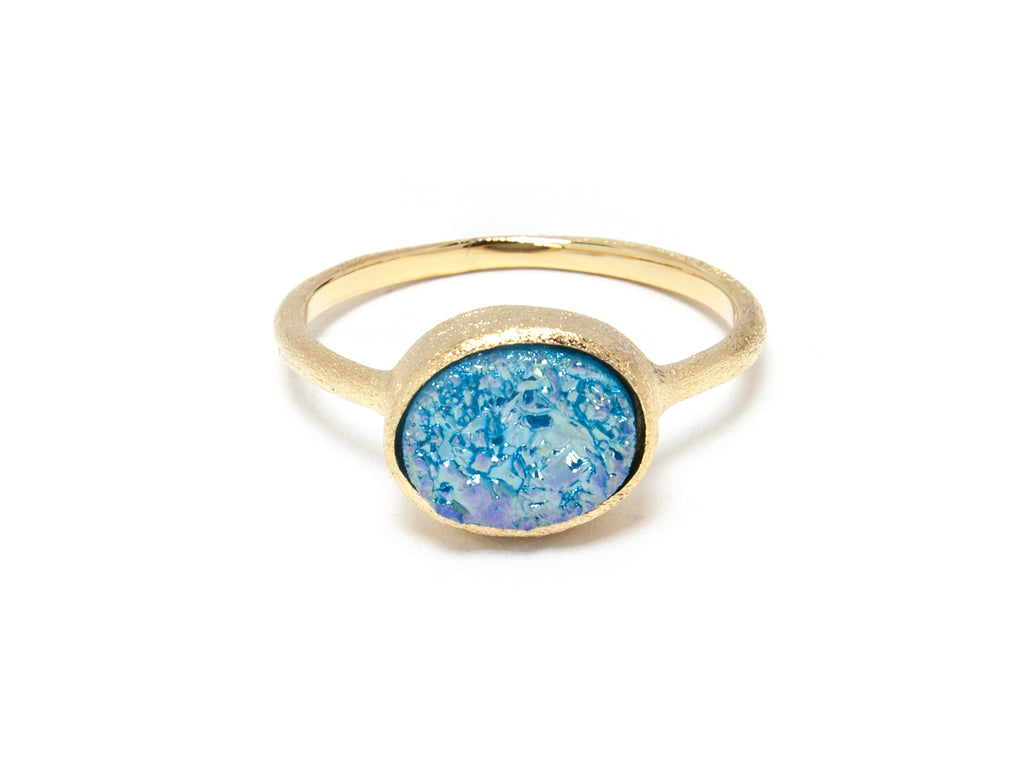 Aqua Blue Druzy Quartz East West Oval Ring