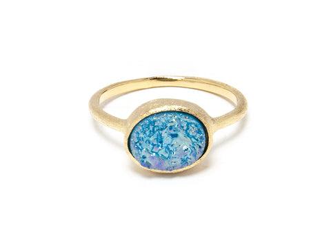 Aqua Blue Druzy East West Oval Ring