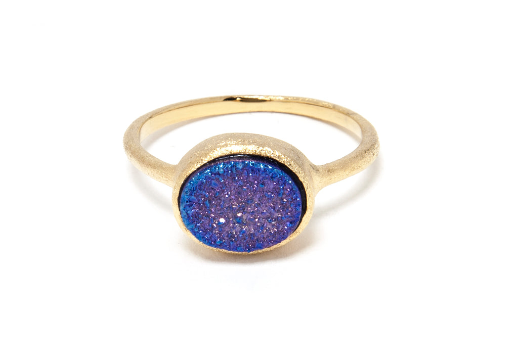 Purple Druzy East West Oval Ring