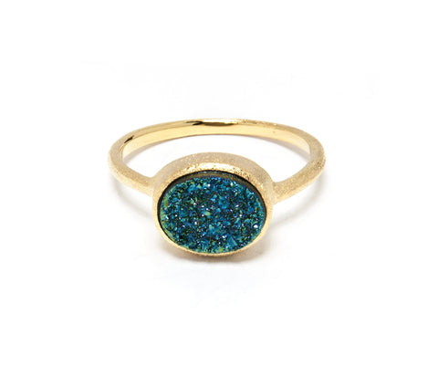 Teal Druzy Quartz East West Oval Ring