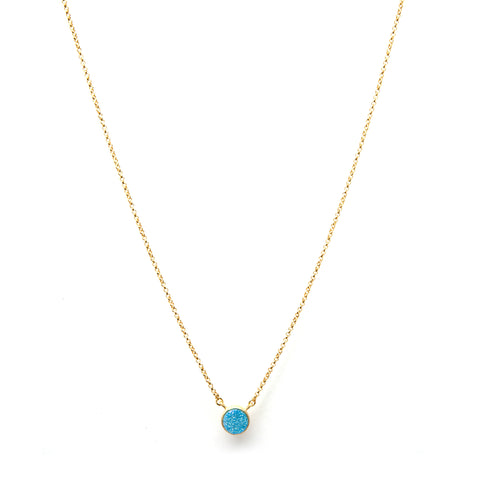 Aqua Druzy Quartz Necklace 17""