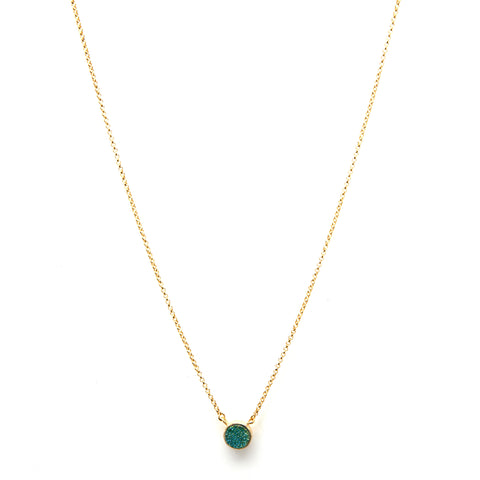 Teal Druzy Quartz Necklace