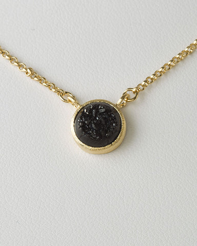 Black Druzy Quartz Necklace