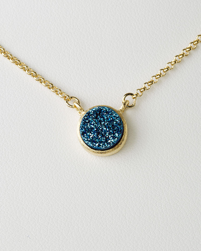 Electric Blue Druzy Quartz Necklace