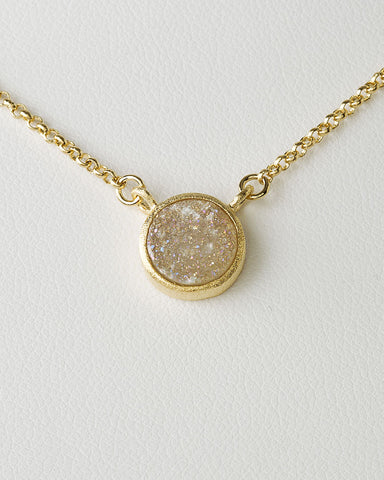 White Druzy Quartz Necklace