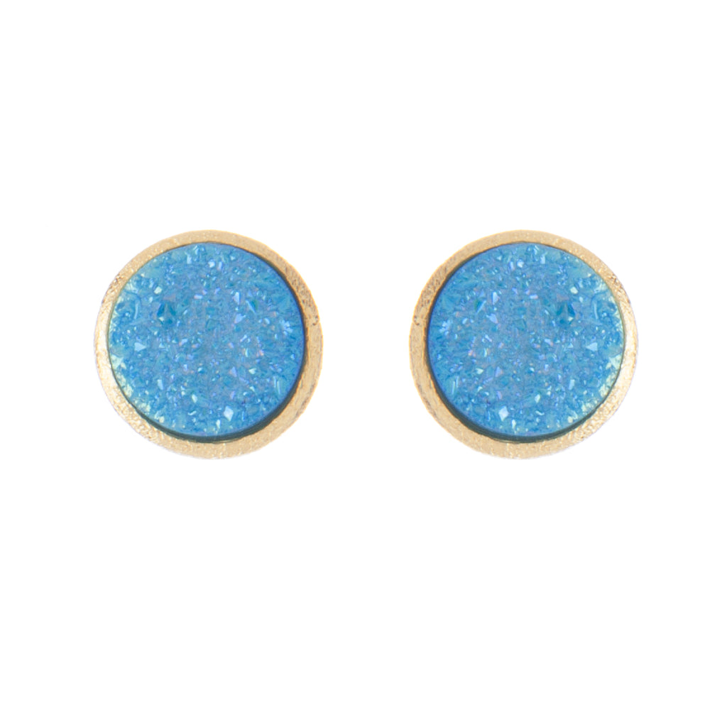 Teal Druzy Quartz Round Stud Earrings - Closeout