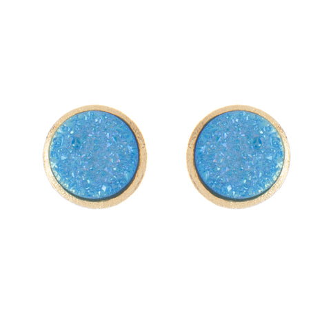 Aqua Druzy Quartz Round Stud Earrings