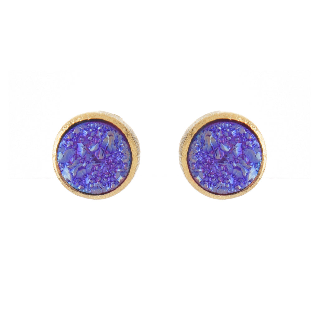 Purple Druzy Round Stud Earrings