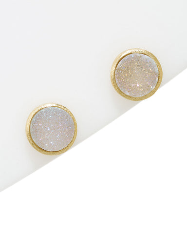 White Druzy Quartz Round Stud Earrings