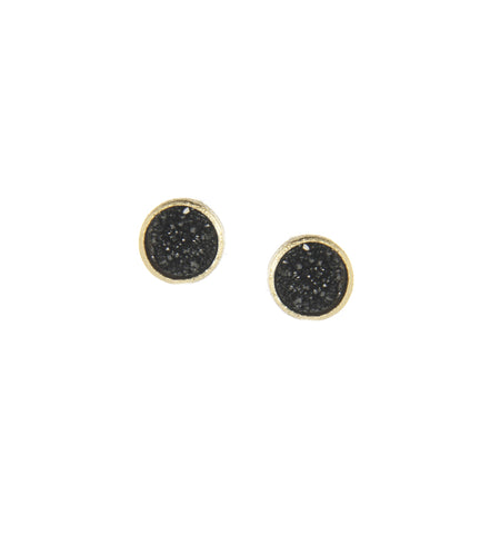 Black Druzy Round Stud Earrings