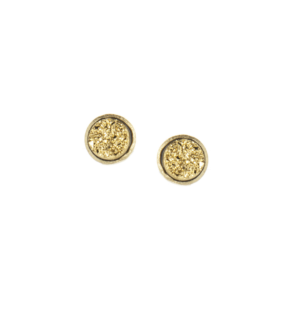 Gold Druzy Round Stud Earrings
