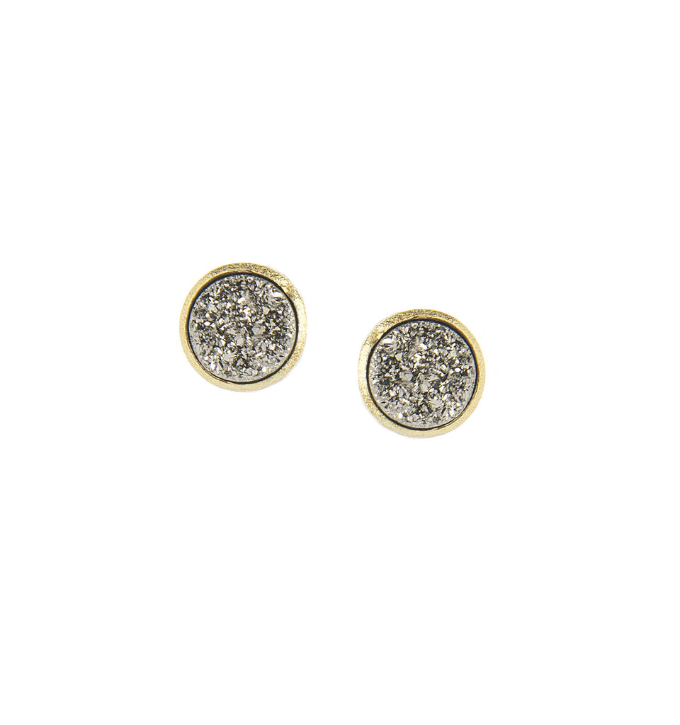 Platinum Druzy Quartz Round Stud Earrings