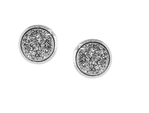 Rhodium Platinum Druzy Quartz Round Stud Earrings