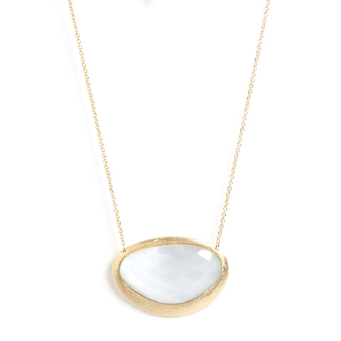 White Cat's Eye Pendant Necklace