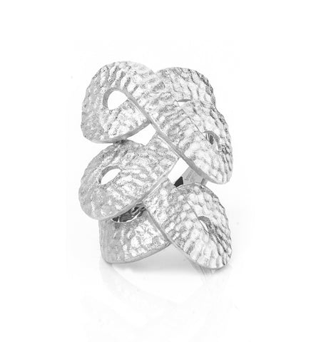 Knuckle to Knuckle Twisted Hammered Rhodium Ring