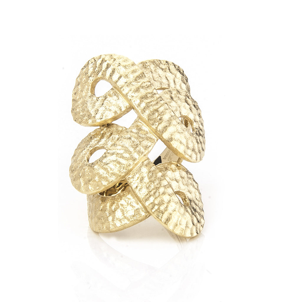 Knuckle to Knuckle Twisted Hammered Satin Ring