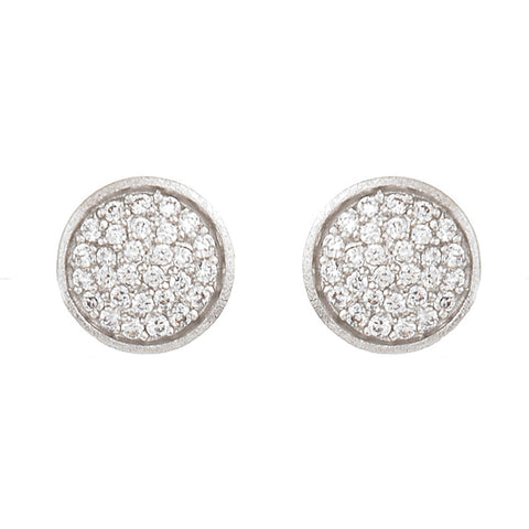 Pave Cubic Zirconia Stud Earrings - 3 Color Available