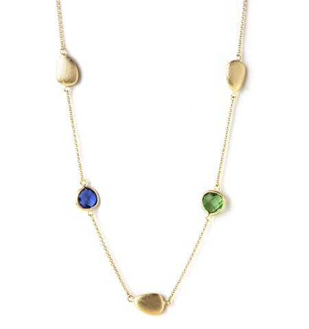 Kiwi + Poppy Blue + Satin Bead Station Necklace