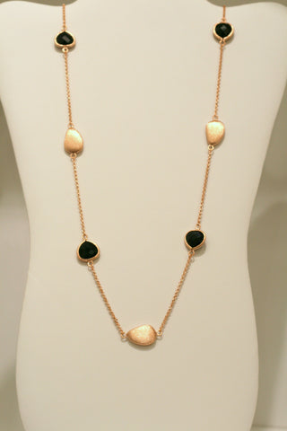 Rose Gold + Onyx Satin Bead Station Necklace - Closeout