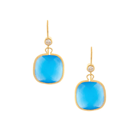 Cat's Eye Blue Crystal + Simulated Diamond Cushion Dangle Earrings
