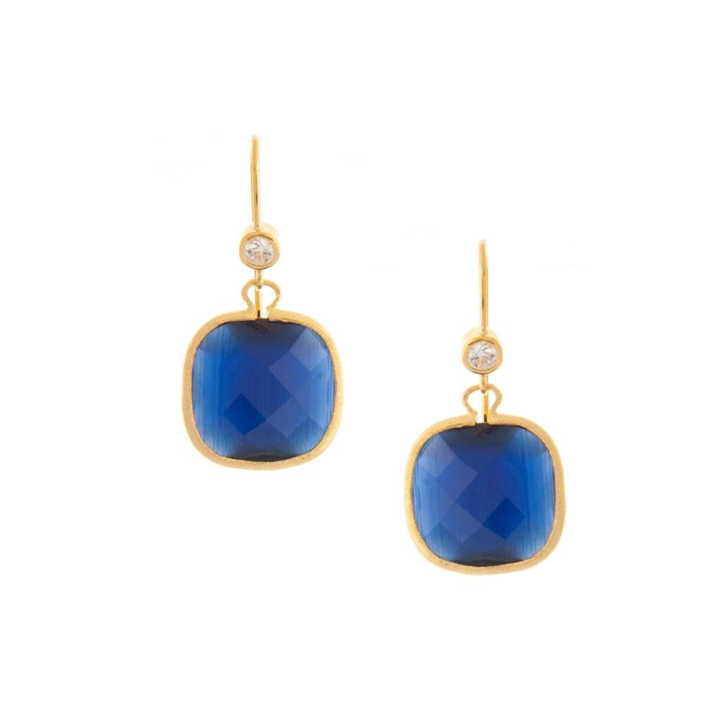 Cat's Eye Navy + Simulated Diamond Cushion Dangle Earrings