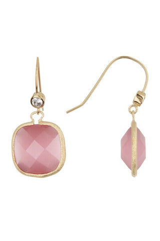 Simulated Diamond Cushion Dangle Earrings - Rose Quartz, Rock Crystal or Raspberry