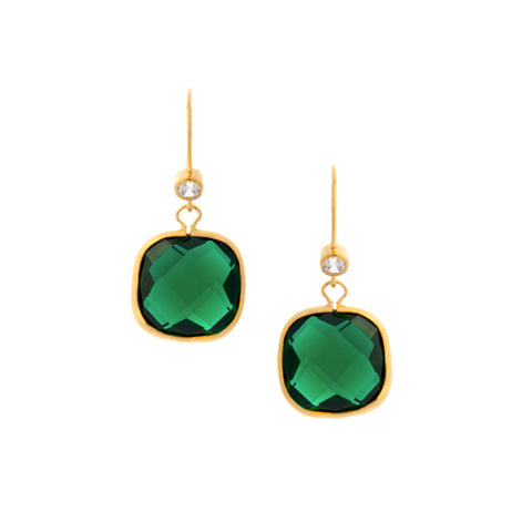 Emerald Crystal + Simulated Diamond Cushion Dangle Earrings