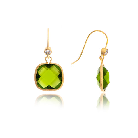 Peridot Crystal + Cubic Zirconia Cushion Dangle Earrings