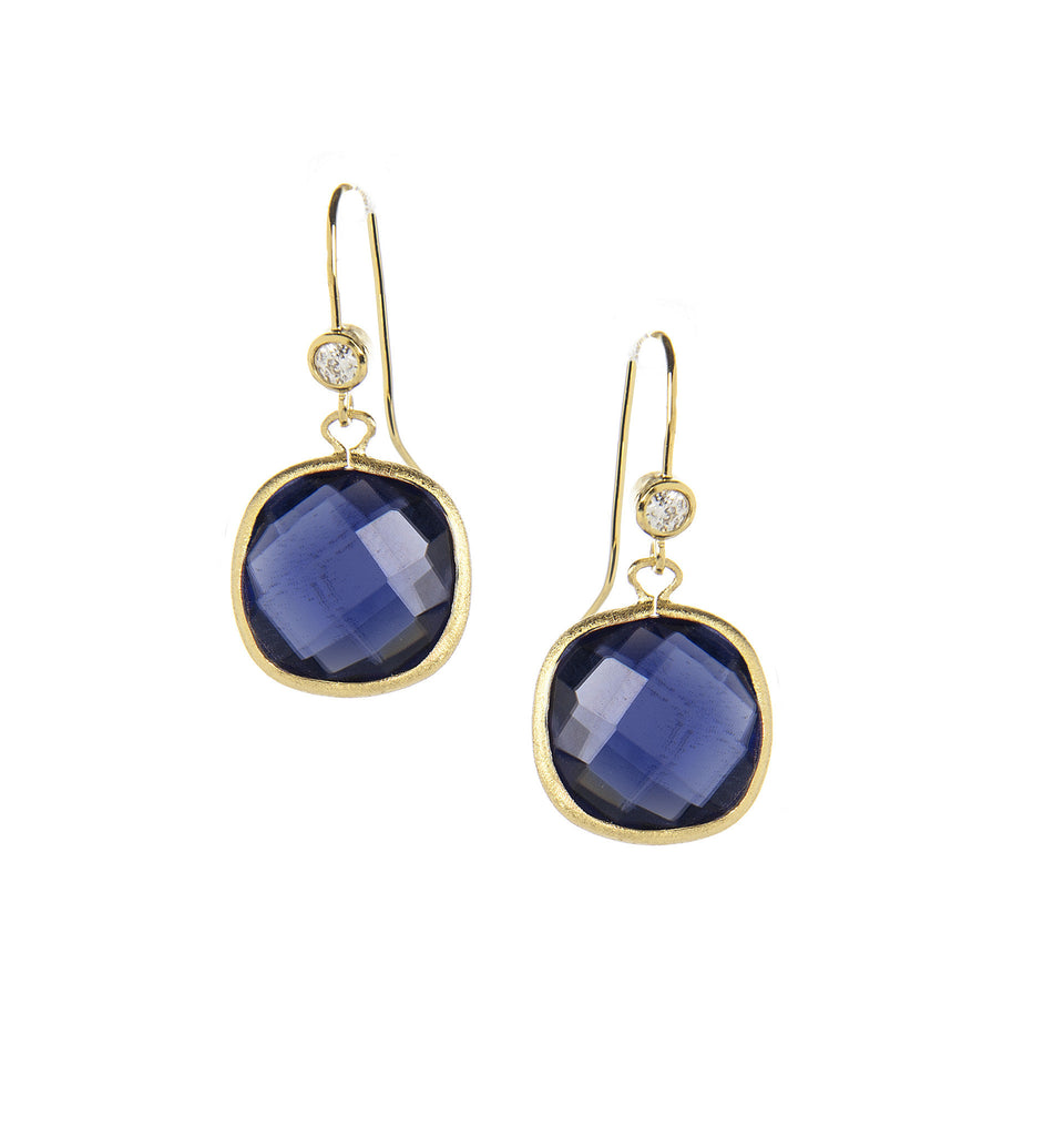 Iolite + Cubic Zirconia Cushion Dangle Earrings