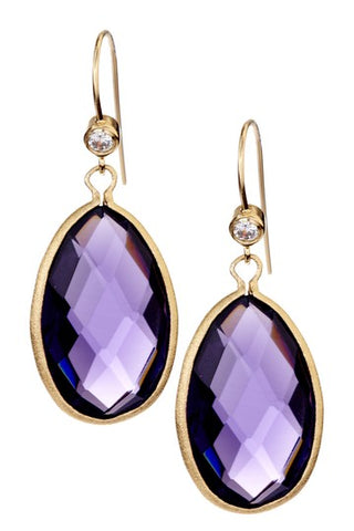 Amethyst + Cubic Zirconia Drop Earrings