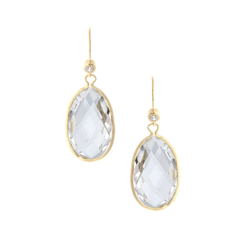 Rock Crystal + Simulated Diamond Drop Earrings