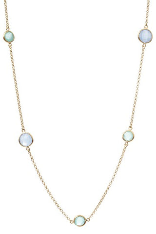 Mint + Blue Chalcedony Rounds Station Necklace - Closeout