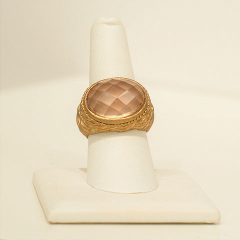 Peach Textured Bezel Ring Size 8 - Closeout