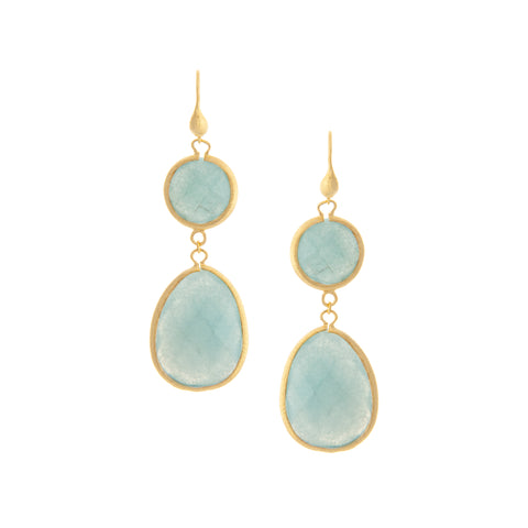 Caribbean Quartzite Blue Double Dangle Earrings