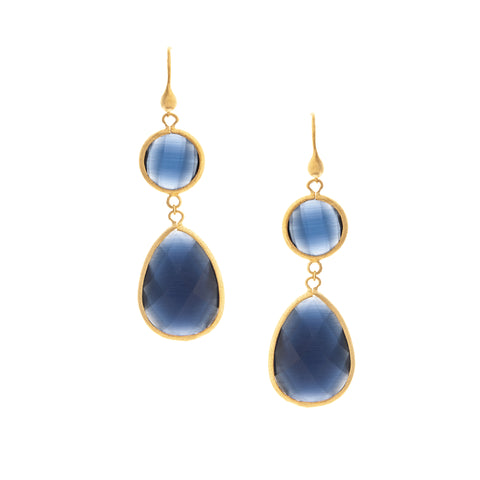 Cat's Eye Navy Double Dangle Earrings
