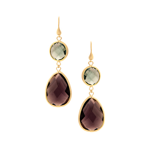 Denim + Amethyst Double Dangle Earrings
