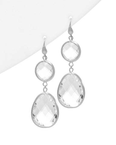 Rhodium Rock Crystal Double Dangle Earrings - Closeout