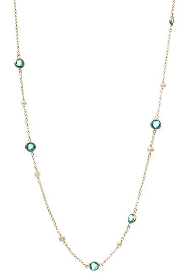London Blue + Pearl Station Necklace