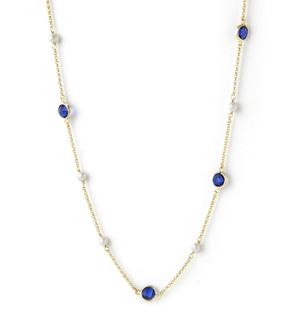 Poppy Blue + Pearl Station Necklace