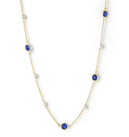 Poppy Blue & Pearl Station Necklace