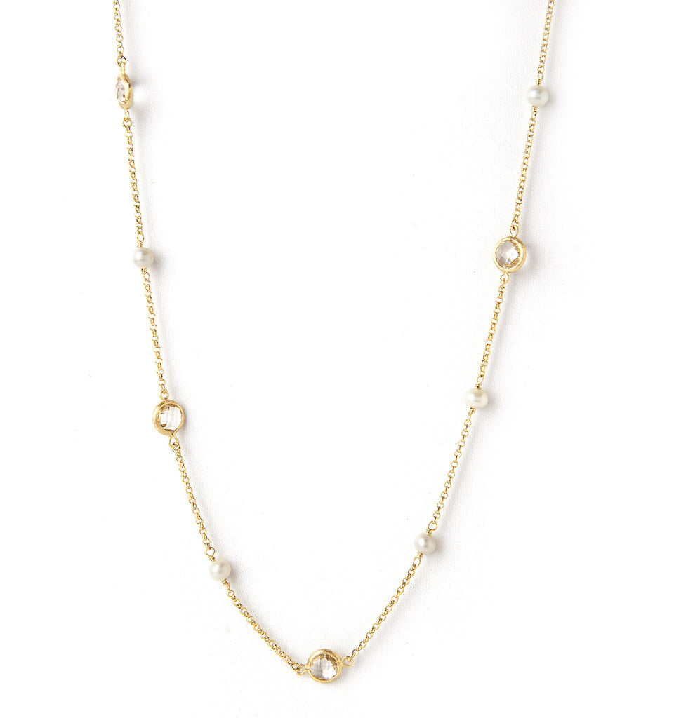 Rock Crystal + Pearl Station Necklace