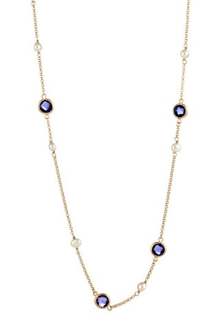 Iolite + Pearl Station Necklace