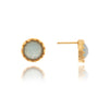 Caribbean Quartzite Blue Round Stud Earrings