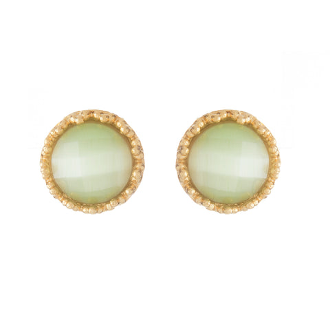 Lime Green Cat's Eye Round Stud Earrings