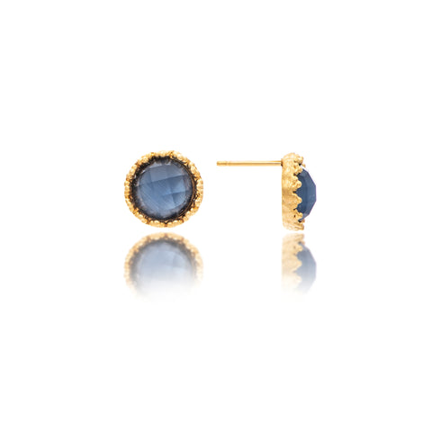 Cat'e Eye Navy Round Stud Earrings