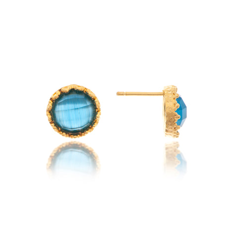 Cat's Eye Sky Blue Round Stud Earrings
