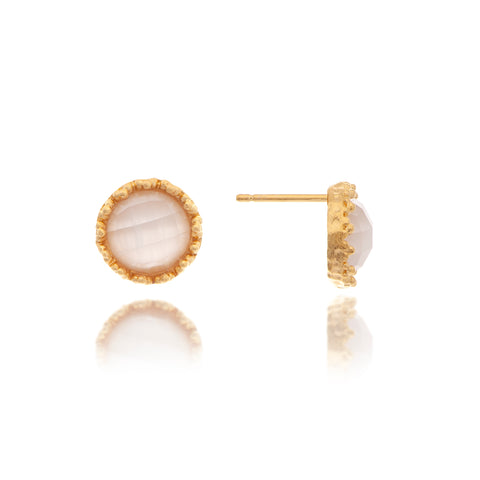 Cat's Eye White Round Stud Earrings