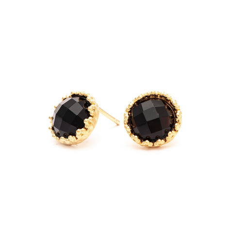 Onyx Round Stud Earrings
