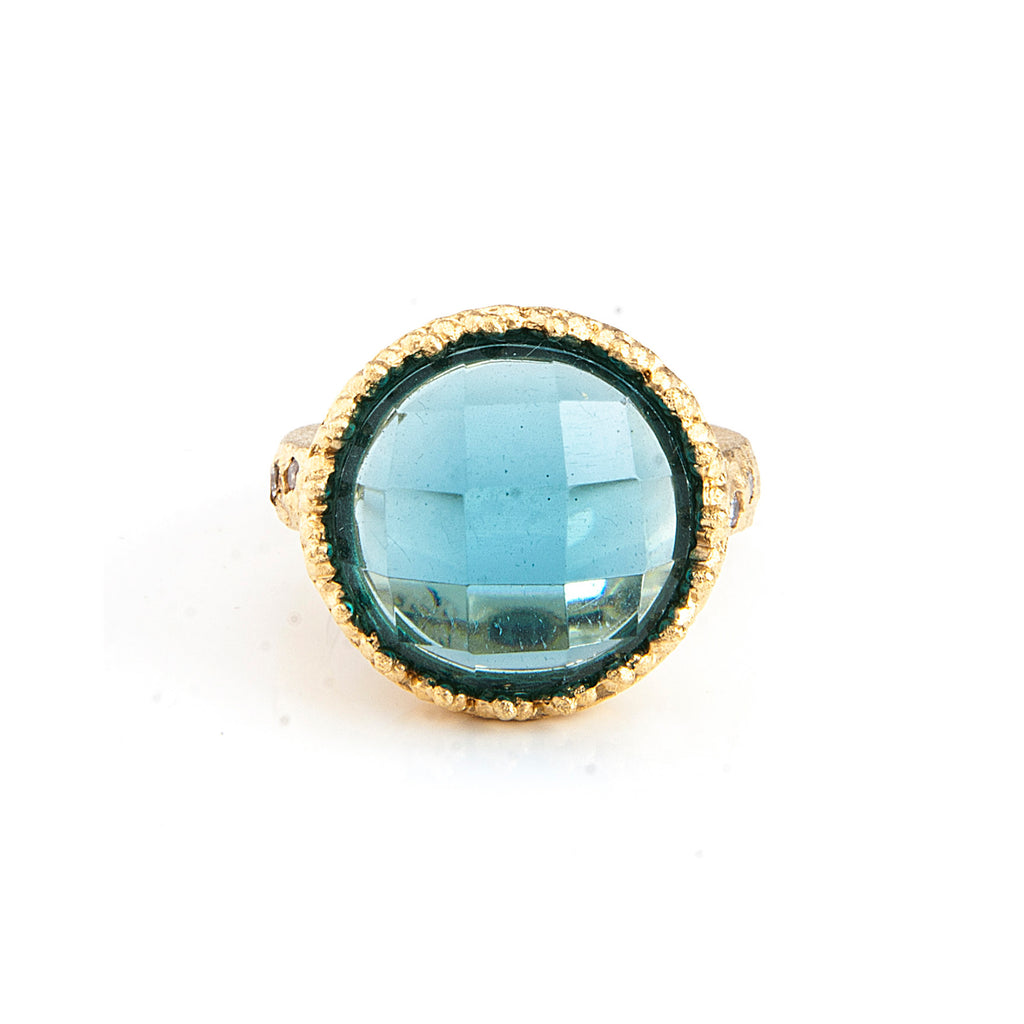 Denim Blue + Simulated Diamond Accent Cocktail Ring